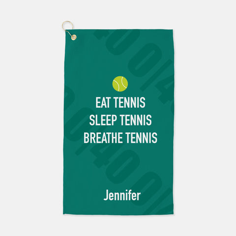 Eat , sleep breathe tennis personalized towel