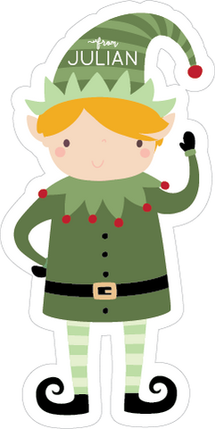 contoured cut elf holiday shaped sticker