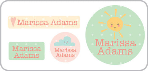 Sun and clouds waterproof labels for girls