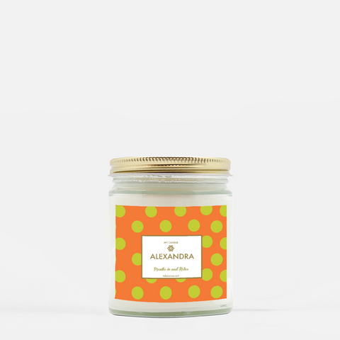 fall personalized polka dot candle