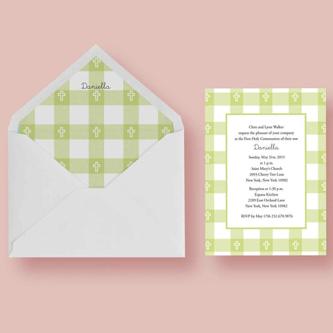 First Communion Gingham Card 2