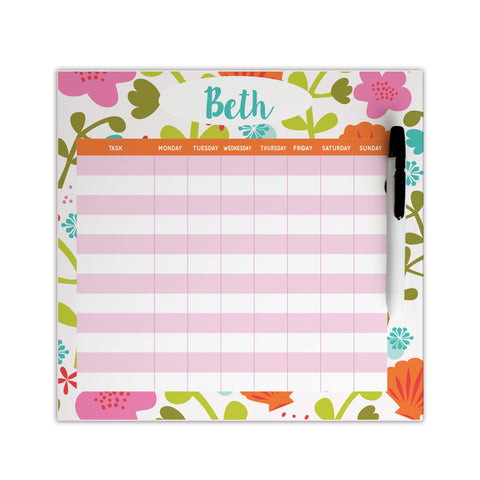 personalized floral chore chart for girls
