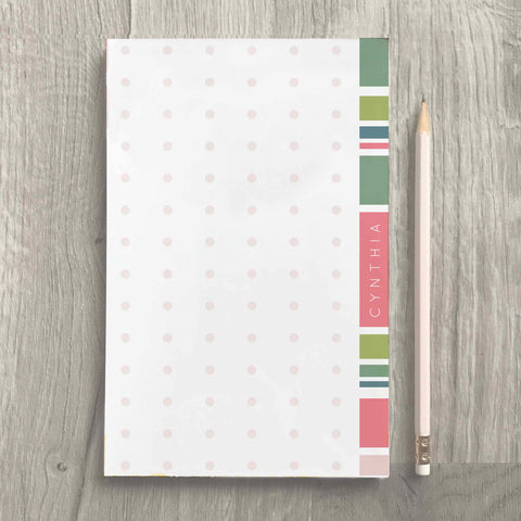 Personalized notepad with colorful design