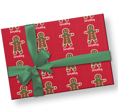Gingerbread Man Personalized  Gift Wrap