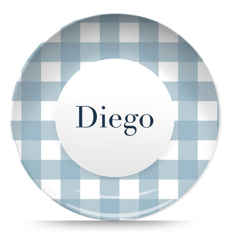 "Blue Gingham 10"" Plate"