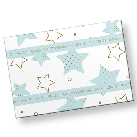 Gold Polka Dot Stars Gift Wrap