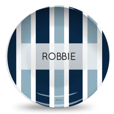 Navy striped personalized plate for boys