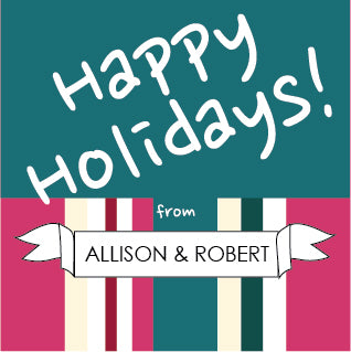happy holidays stripes and banner label