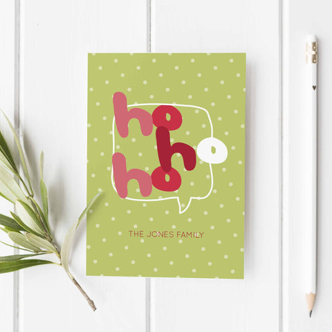 Ho Ho Ho Holiday Personalized Greeting card