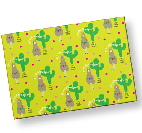 Holiday-Personalized-Llama-Wrapping-Paper