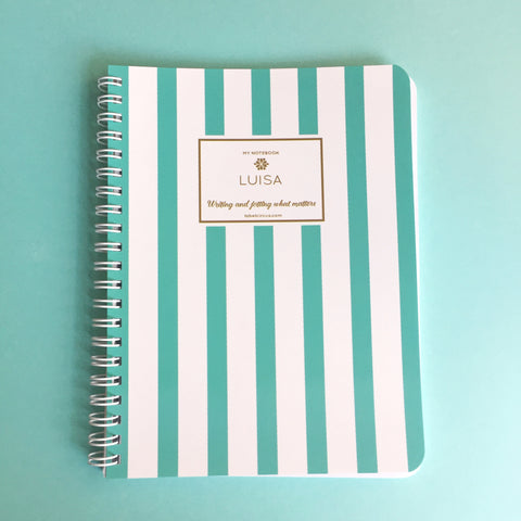 Aqua Stripes Mini Notebook