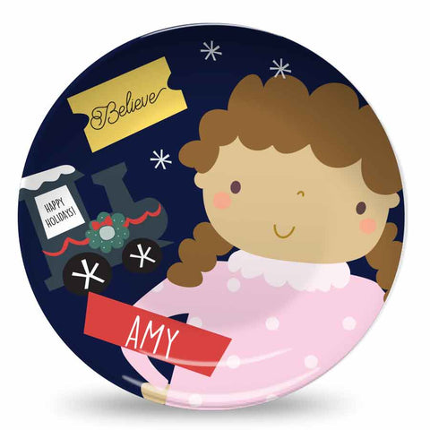 Believe Polar Express Little Girl Personalized Plate