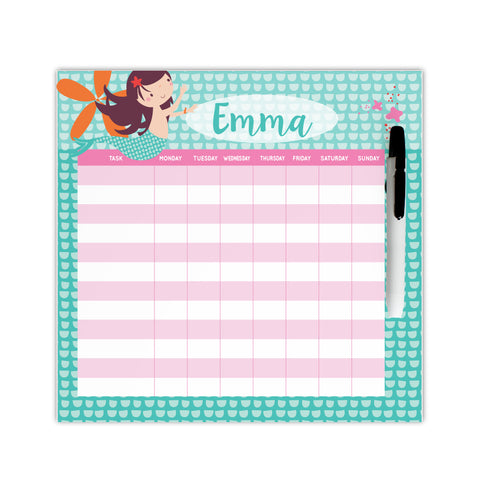 personalized mermaid chore chart