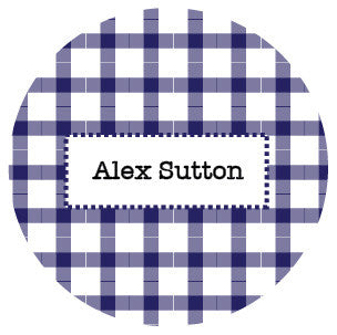 Navy Blue Plaid Label