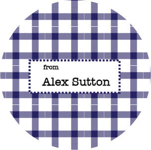 Navy Plaid Gift Label