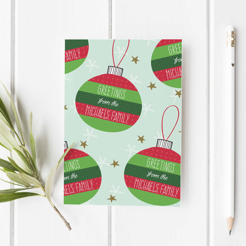 Personalized holiday ornament greeting card