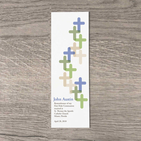 Overlapped Crosses Blue Bookmarks (Set of 25)
