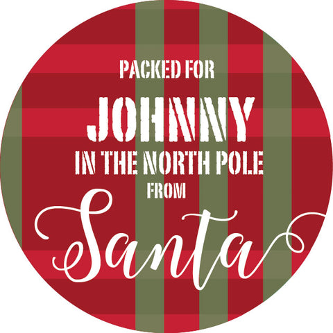 packed in the north pole label gift tag