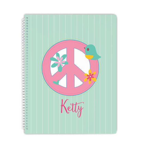 personalized peace notebook for girl