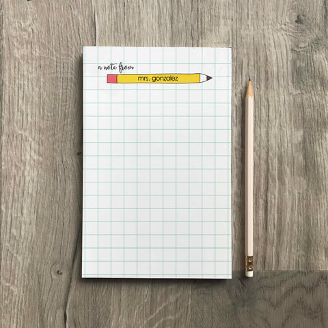 personalized teacher pencil notepad