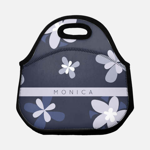 dark floral neoprene lunch tote