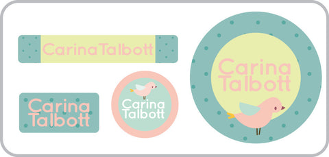 Pink Birdie too Everyday Labels