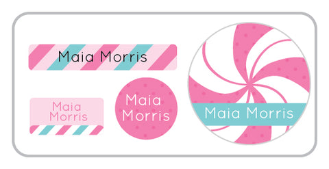 Pink candy personalized labels