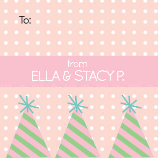 pink party hats gift label