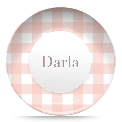 "Pink Gingham 10"" Plate"