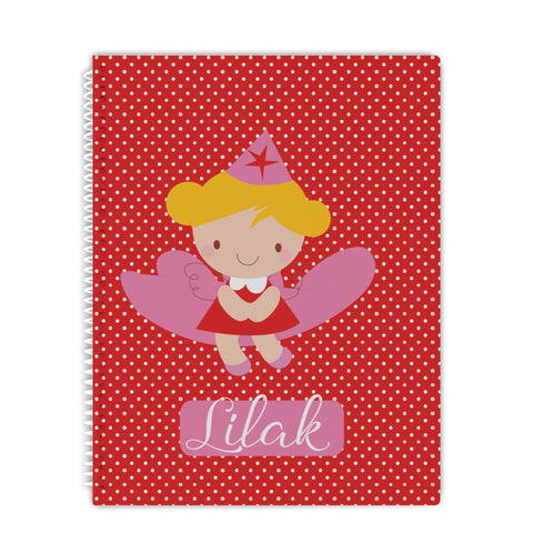 personalized polka dot fairy notebook for girls
