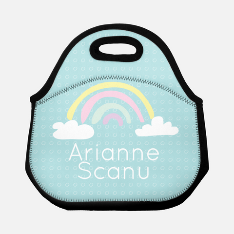 rainbow personalized lunch tote