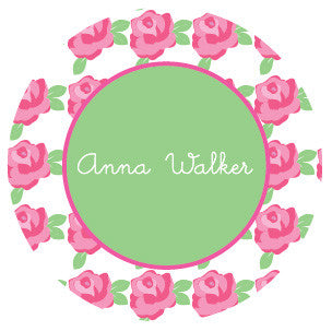 Pink Rose Pattern Label