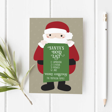 Santa's Good List Personalized Greeting Card