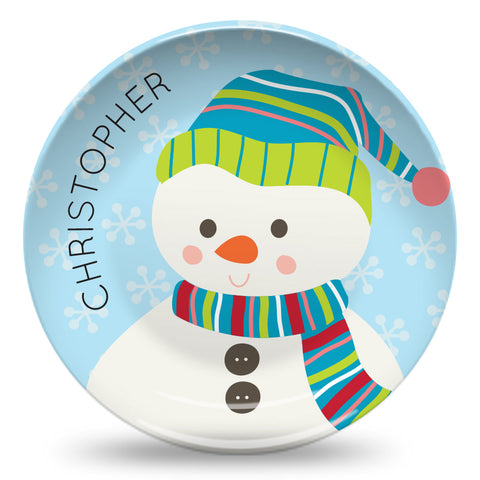 SNOWMAN PERSONALIZED PLATE
