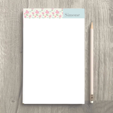 spring flowers personalized notepad