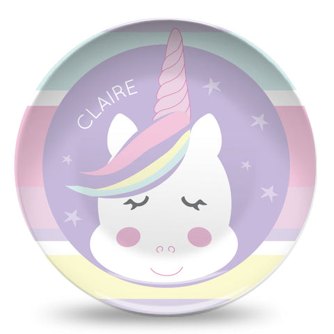 personalized unicorn plate for girl