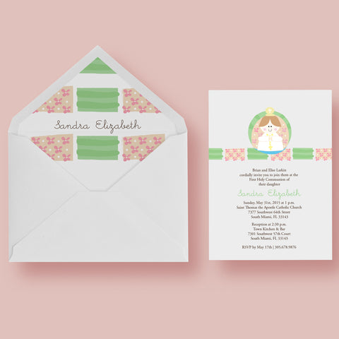 Firs Holy Communion girl personalized Invitation card