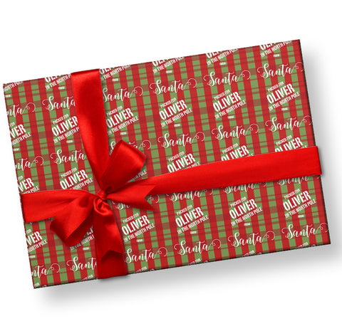 Packed in the North Pole Personalizes Gift Wrap From Santa Personalized Gift Wrap