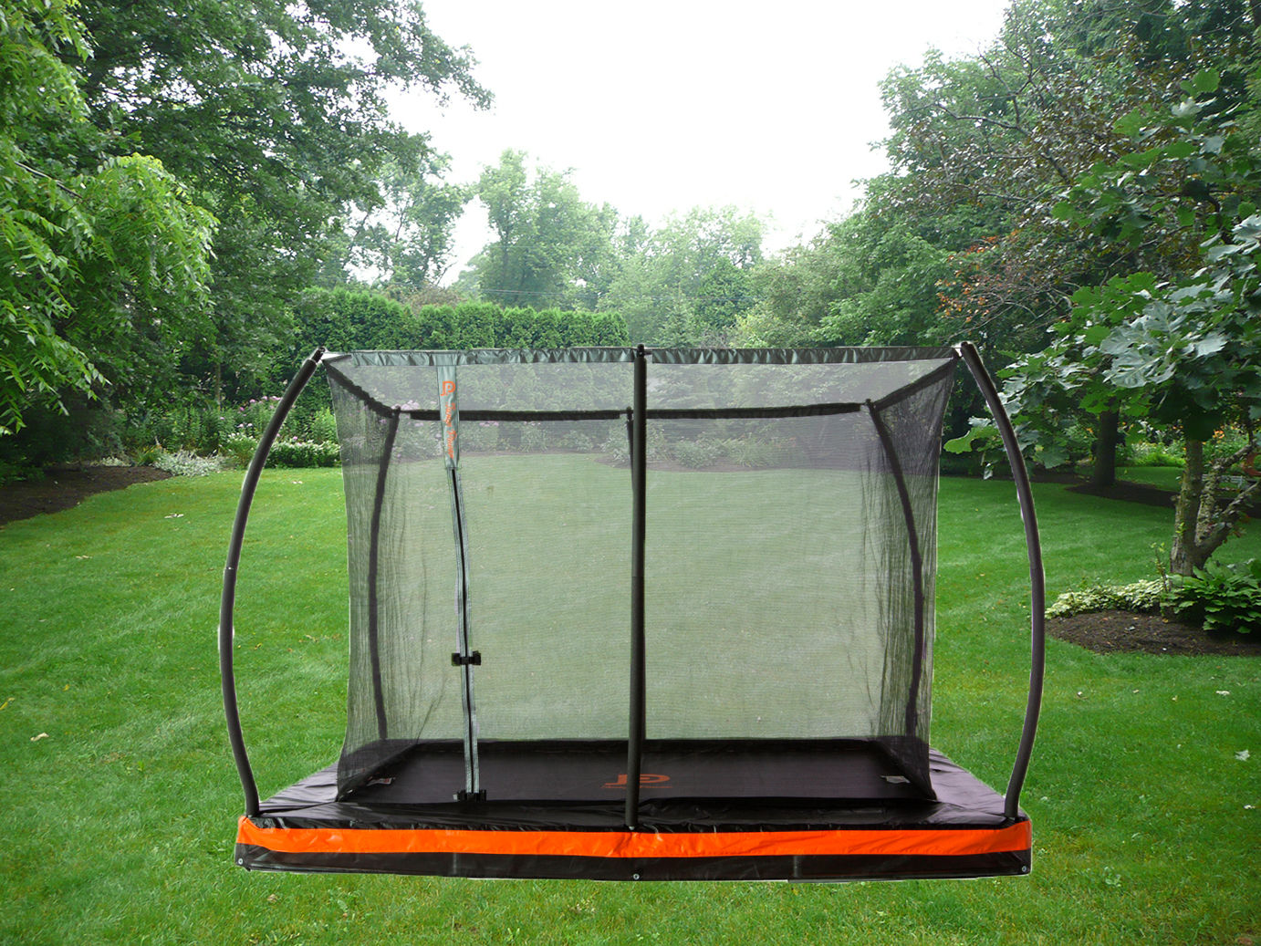12ft.  x  8ft.  In-ground Rectangular Trampoline & Safety Net Combo