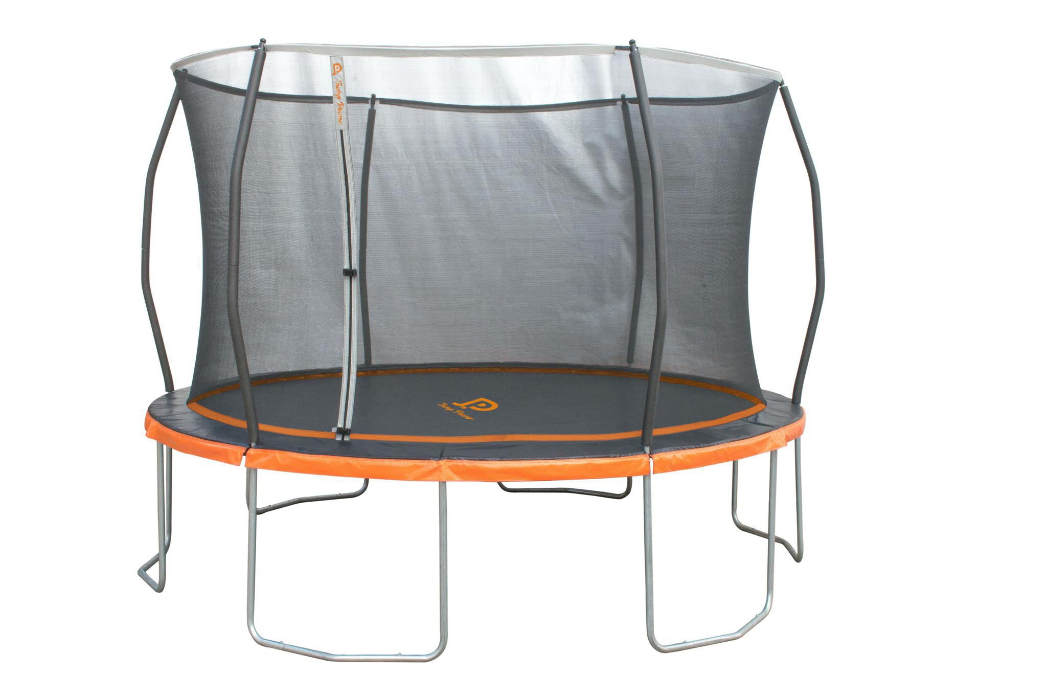 "Jump Power ""ASTM Safety Approved"" 12-Foot Trampoline with Safety Net Enclosure System, Black, Orange, Silver"