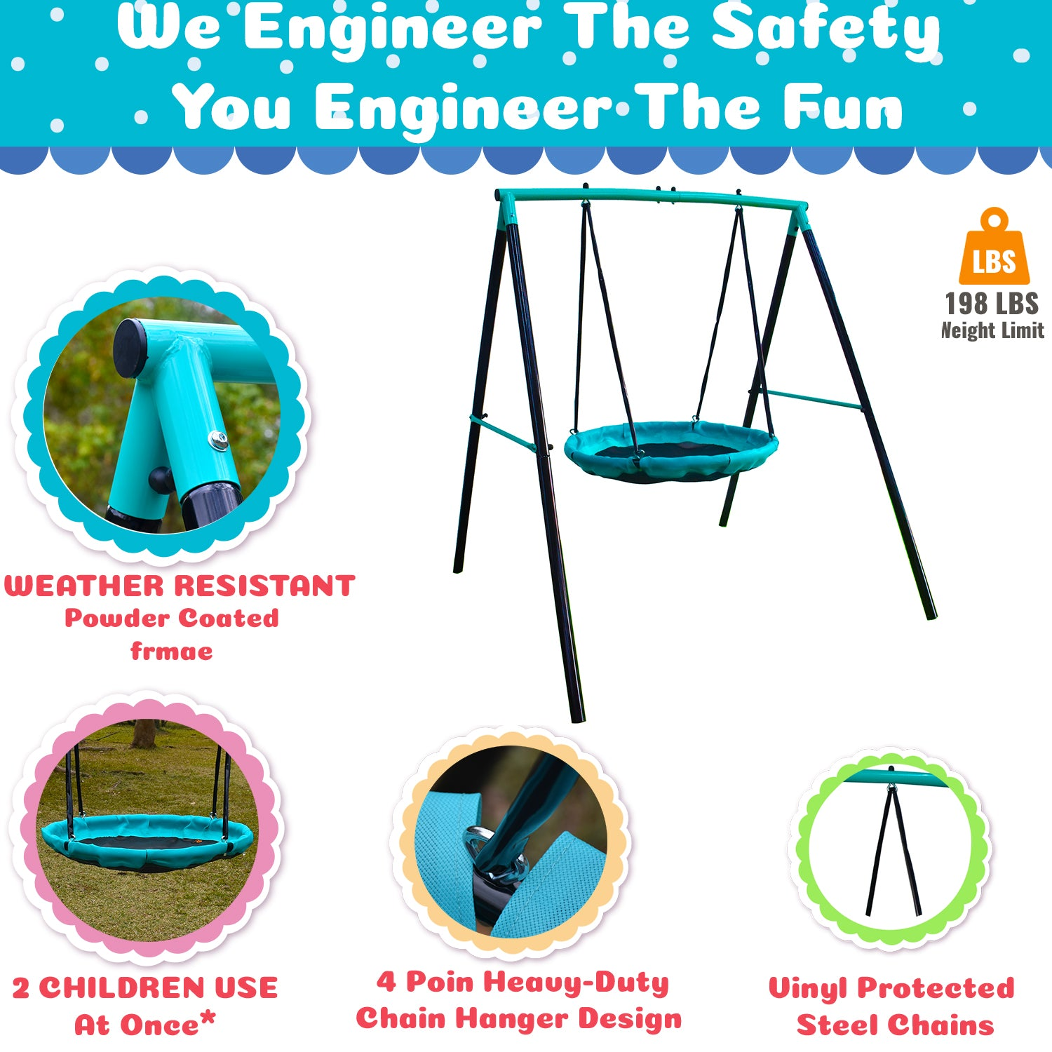 UFO/Flying Saucer-Magic Carpet A- Frame Metal Swing Set- for 1 or 2-Kids/Toddlers