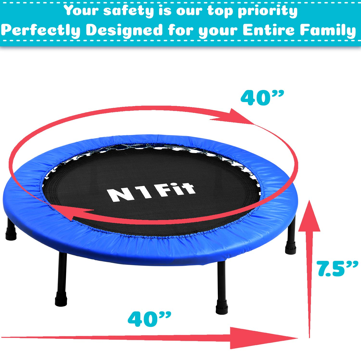"40"" Spring Fitness Trampoline for Adults & Kids ""ASTM Safety Approved"""