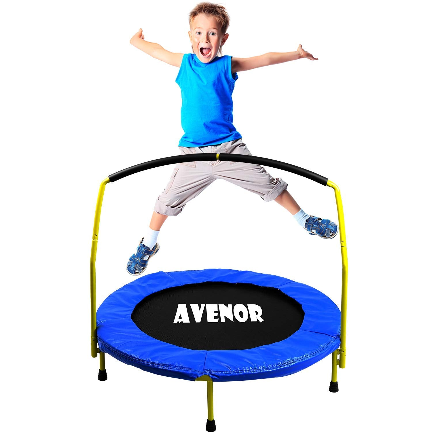 "Kids Indoor & Outdoor Mini 3' Trampoline with Handlebar ""ASTM Safety Approved"""