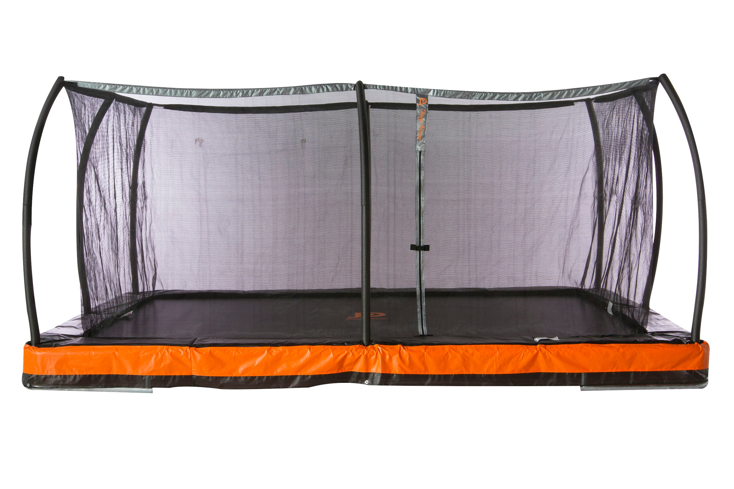 "12ft.  x  8ft.  In-ground Rectangular Trampoline & Safety Net Combo ""ASTM Safety Approved"""