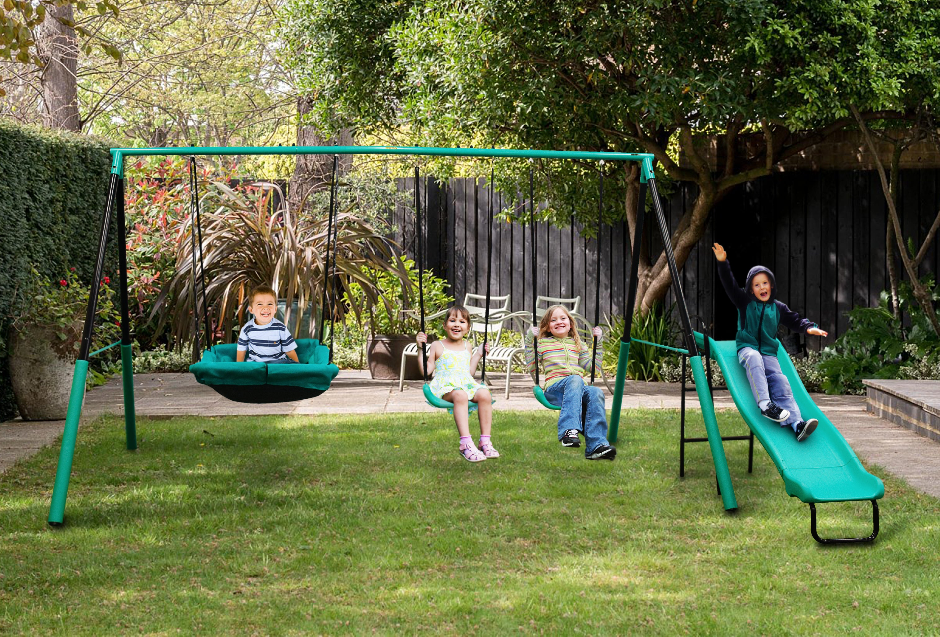 Magic Carpet A-Frame Metal Swing Set- For 1 to 5 Children & Toddlers