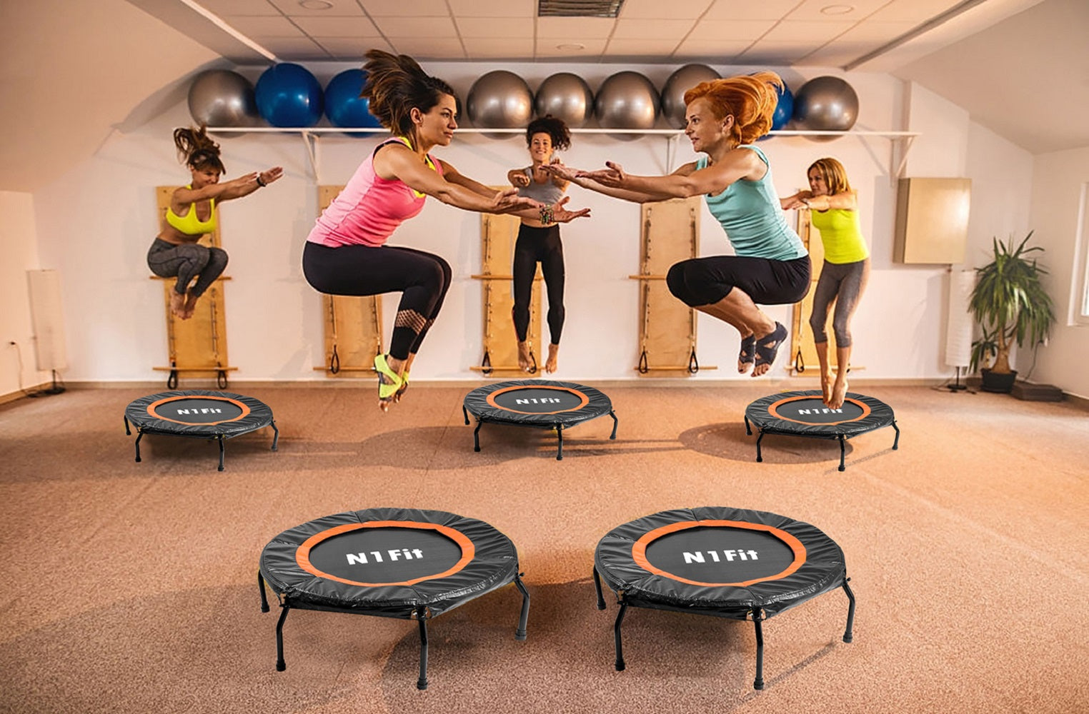 "40"" Re-bounder Fitness Trampoline for Adults & Kids with Bungees"