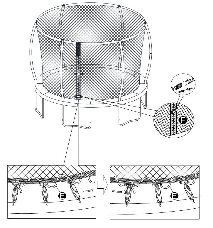 14' Replacement Trampoline Safety Net- Fits only Trampolines that have 6- Curved/Pole Ring Enclosures