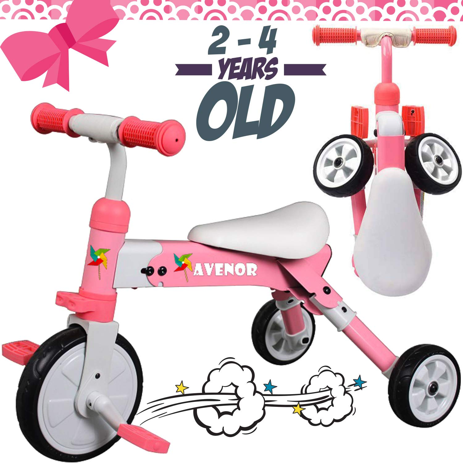 2 in 1 Tricycles Ages 2-4 Years Old Baby Tricycle Perfect As Folding