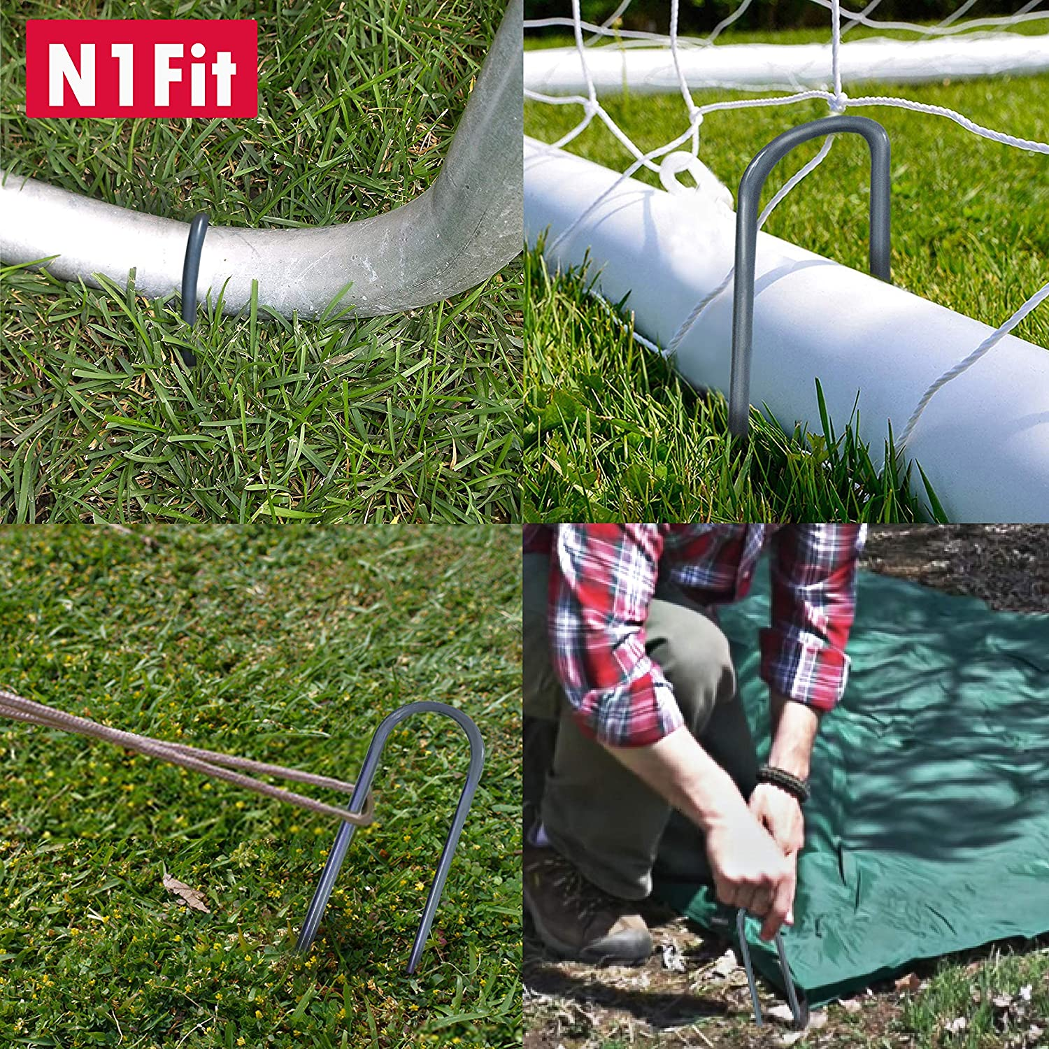 N1Fit Heavy Duty Galvanized Steel Trampoline Wind Stakes