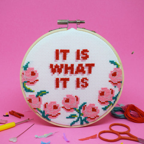 'IT IS WHAT IT IS' CROSS STITCH KIT